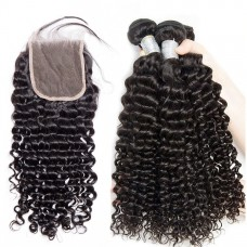 10a brazilian hair wholesale 3 bundles & 4*4 lace Closure Deep Curly