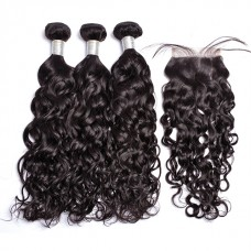 10a brazilian hair wholesale 3 bundles & 4*4 lace Closure Natural Wave