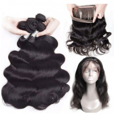 10a brazilian human hair 2 Bundles & 360 Lace Closure Body Wave