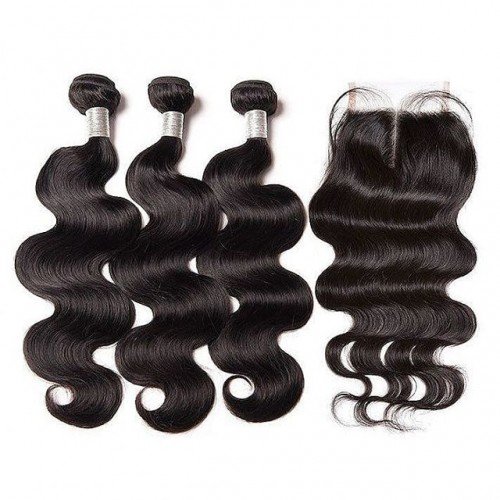 10A Malaysian Human Hair 3 bundles & 4*4 lace Closure Body Wave