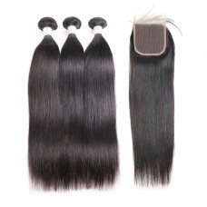10a brazilian hair wholesale 3 bundles & 4*4 lace Closure Silky Straight