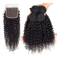 10a brazilian hair wholesale 3 bundles  Kinky Curly & 4*4 lace Closure